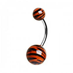 Piercing Nombril zèbre orange