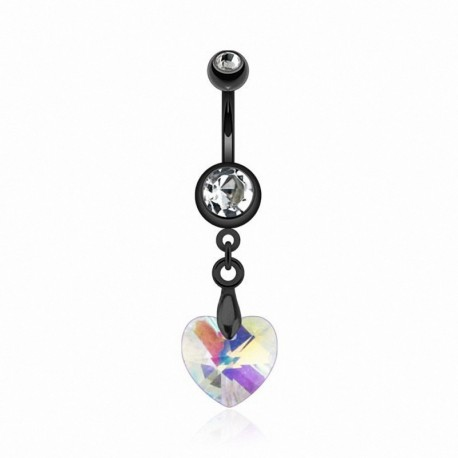 Piercing Nombril Blackline coeur de Cristal