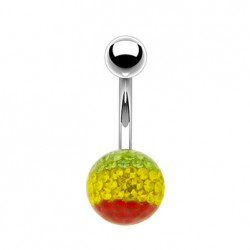 Piercing Nombril multi-cristaux vert, jaune, rouge