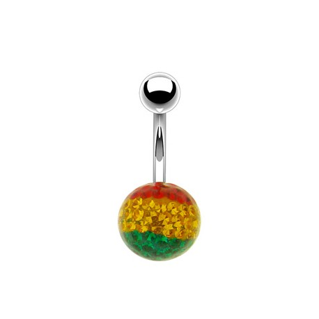 Piercing Nombril multi-cristaux rasta