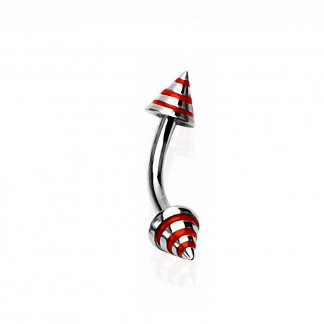 Piercing Arcade Acier spike rayé rouge