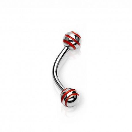Piercing Arcade Acier boule rayée rouge