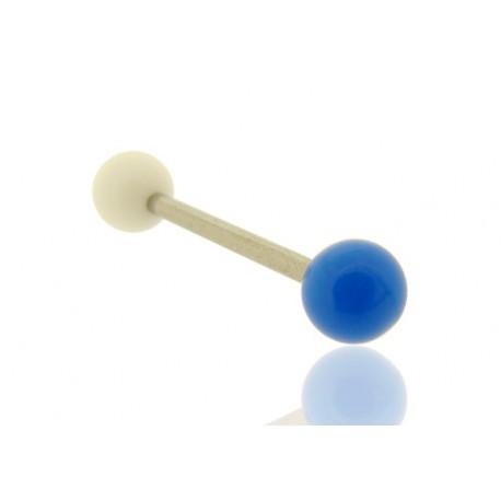 Piercing Langue Acrylique bleu & blanc