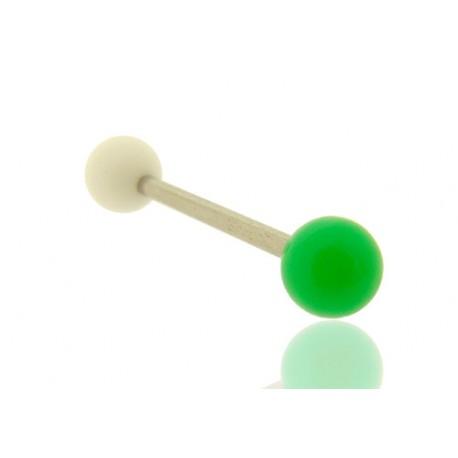 Piercing Langue Acrylique vert & blanc