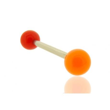 Piercing Langue Acrylique rouge & orange