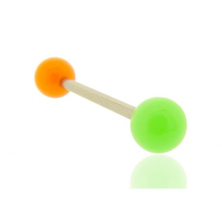 Piercing Langue Acrylique vert & orange