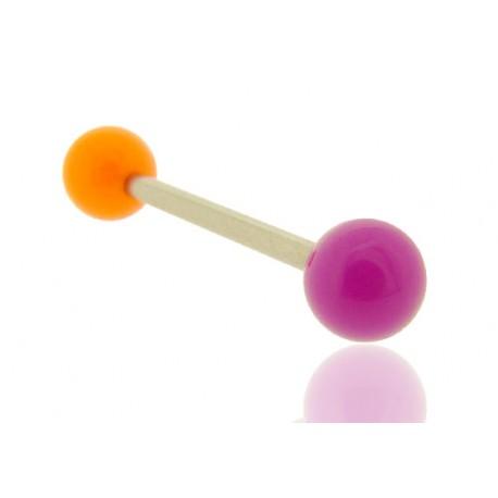 Piercing Langue Acrylique violet & orange