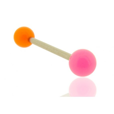 Piercing Langue Acrylique rose & orange