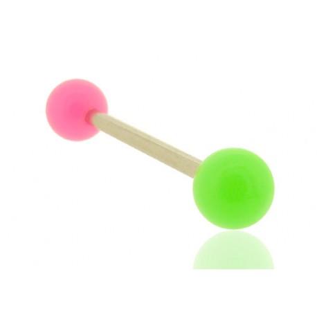 Piercing Langue Acrylique rose & vert