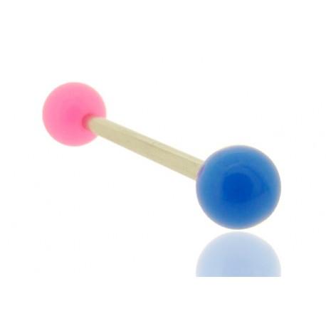 Piercing Langue Acrylique rose & bleu