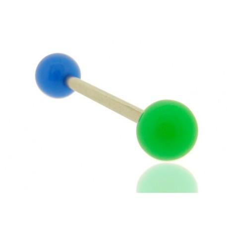 Piercing Langue Acrylique bleu & vert