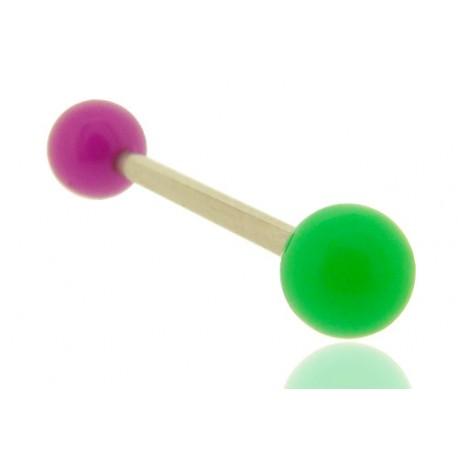 Piercing Langue Acrylique violet & vert