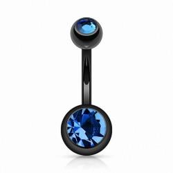 Piercing Nombril Blackline Cristaux bleus