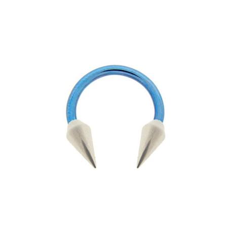 Piercing Fer à cheval anodisé bleu spike