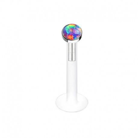 Piercing Labret Bioflex Opale verte clos
