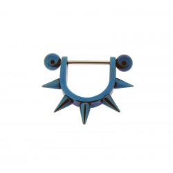Piercing Téton Acier bleu spike