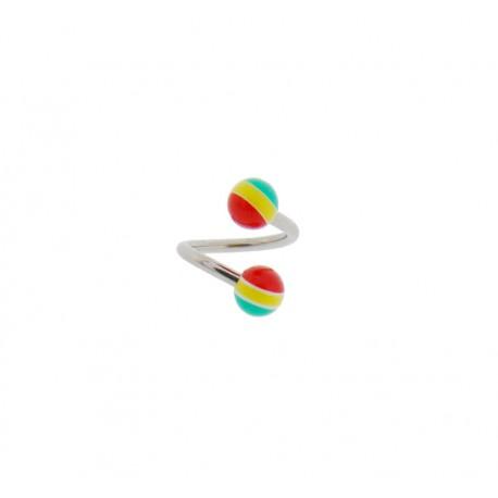 Piercing Spirale acier bille rasta
