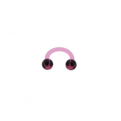 Piercing Fer à cheval bioflex étoile rose