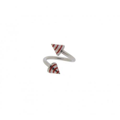 Piercing Spirale acier spike rayé rouge