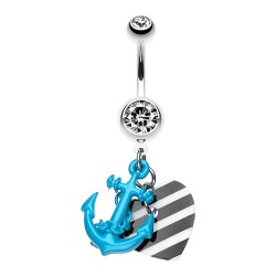 Piercing Nombril Pierres coeur et ancre bleue
