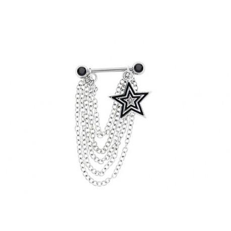 Piercing Téton chaines et étoiles Pierres noires