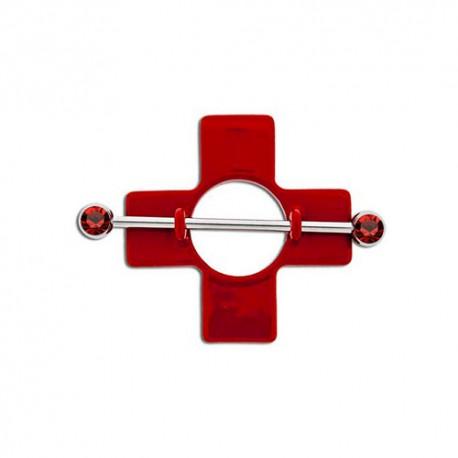 Piercing Téton croix rouge Pierres rouges