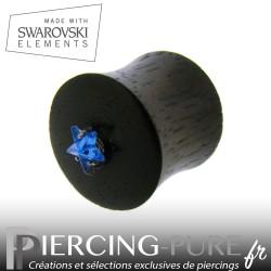 Plug Bois étoile bleue de Swarovski® 12,5mm