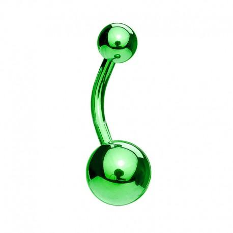 Piercing Nombril Acier anodisé vert