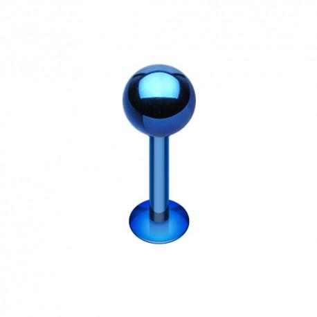 Piercing Labret 1,6mm Acier bleu foncé - 6mm