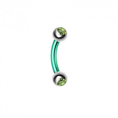 Piercing Arcade Acier vert et Pierres vertes