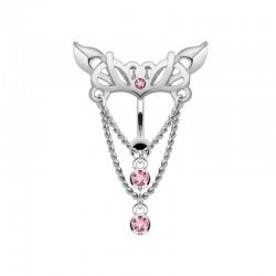 Piercing Nombril Acier inversé pendentif rose