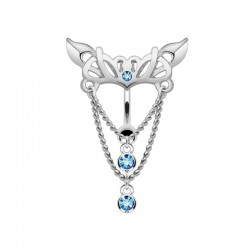 Piercing Nombril Acier inversé pendentif bleu