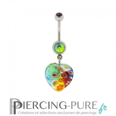 Piercing Nombril Verre Coeur