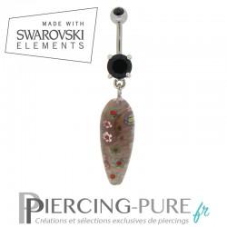 Piercing Nombril Goutte de Verre noire et cristaux