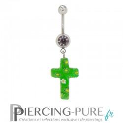 Piercing Nombril Verre Croix