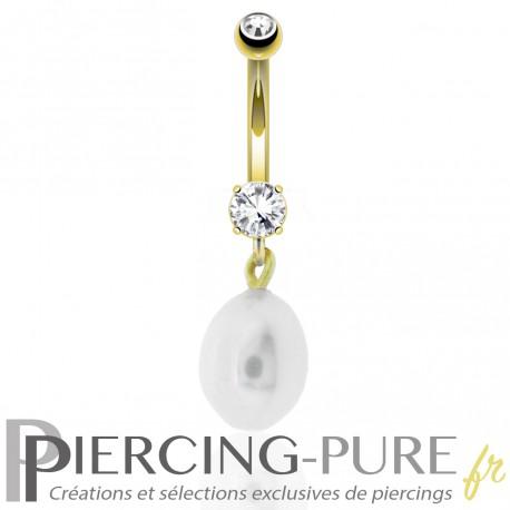 Piercing Nombril Or 14K Cristaux et Perle naturelle