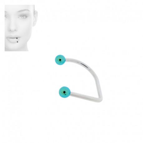 Piercing Labret hoop Acier anodisé vert