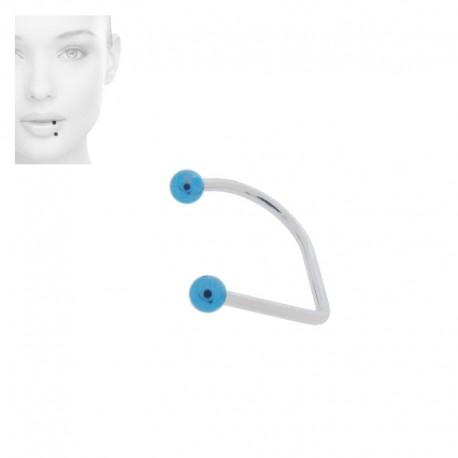 Piercing Labret hoop Acier anodisé bleu