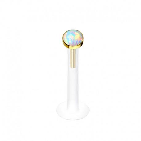 Piercing Labret Bioflex et Or jaune Opale blanche clos