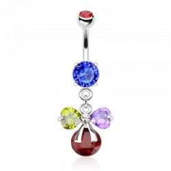 Piercing Nombril Pierres multicolores et ruban - Cristal rouge