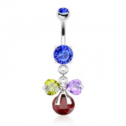 Piercing Nombril Pierres multicolores et ruban - Cristal bleu