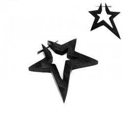 Boucle d'Oreille Bois étoile
