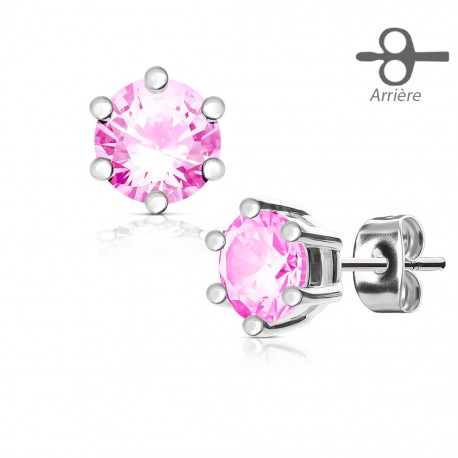 Boucle d'Oreille Strass rond rose 5mm