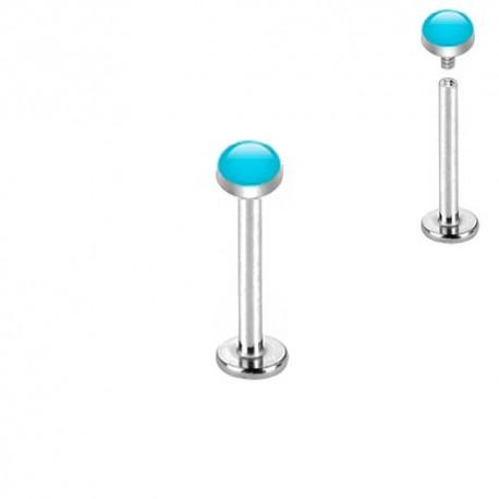 Piercing Labret Acier dôme émaillé bleu