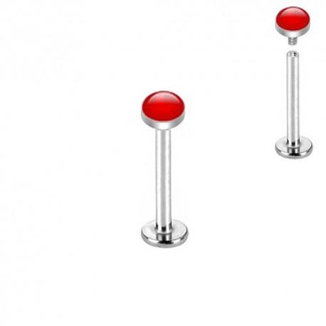 Piercing Labret Acier dôme émaillé rouge