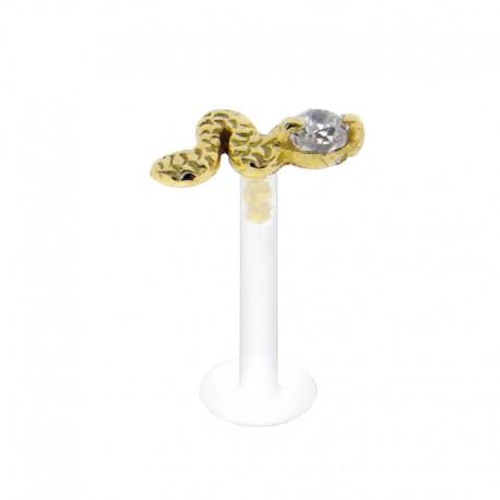 Piercing Labret Or 18K Cristal griffé et serpent