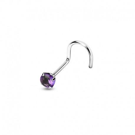 Piercing Nez Cristal violet griffé
