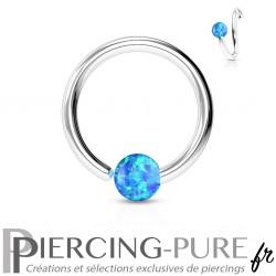 Anneau Acier bille Opale bleue