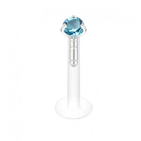 Piercing Labret Flexible Cristal griffé turquoise 2mm