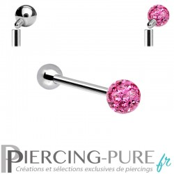 Piercing Langue Titane Cristaux roses - interne